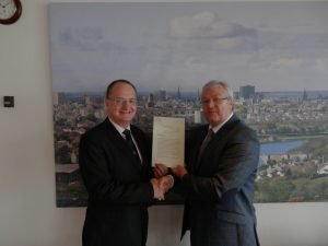 Neil Armour With Late Deacon Convener David Parkinson accepting his Burgesses Certificate