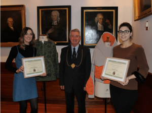 Winner Chiara Lamon with Runner-up Chloe McKinstry and Deacon of the Tailors, Derek Simpson